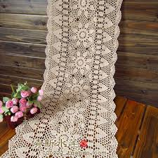 Lace Table Overlays Aliexpress Com Buy Free Shipping White Biege Rectangle Crochet