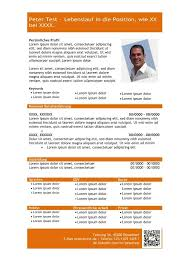 Vorlage Lorem Ipsum Vorlage Lebenslauf Mit Profil In Tabellarischer Form Orange Cv