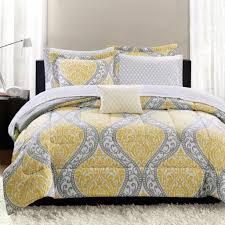 Gray And Yellow Crib Bedding Bedroom Feminine Damask Gray And Yellow Bedding Set With White