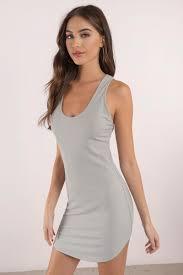 grey bodycon dress grey dress scoop neck dress grey stretch dress bodycon dress