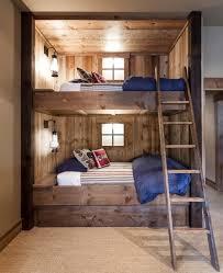 Solid Oak Bunk Bed Solid Wood Bunk Beds Bedroom Rustic With Beige Wall Blue Bedding