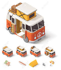 Retro Camper Isometric Retro Camper Van And Travelers Equipment Royalty Free