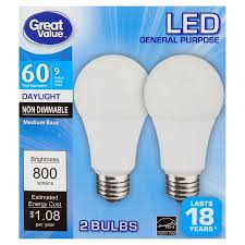 daylight led light bulbs great value led general purpose daylight medium base bulbs 9w 2