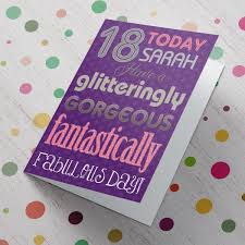 personalised 18th birthday card glitteringly gorgeous from 99p
