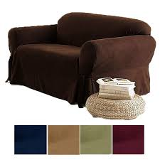 Sofa Loveseat Covers by 2 Pc Soft Micro Suede Couch Sofa Loveseat Slip Cover Brown Black