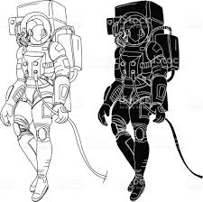 astronauts characters set hand drawn stylespaceman on white
