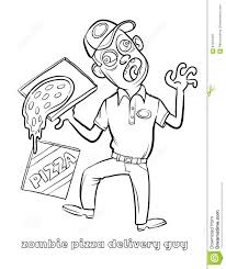 funny zombie pizza delivery guy coloring page stock vector image