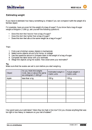 estimating weight worksheet worksheets