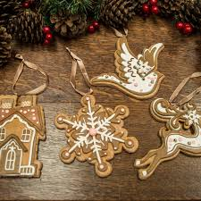 set of 4 gingerbread cookie christmas tree decorations santa