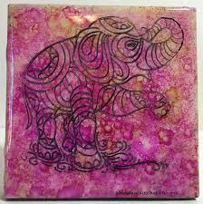 pink elephant art decorative tile nursery decor baby gift