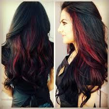 brunette hairstyle with lots of hilights for over 50 dark hair with red peekaboo highlightsmy hair styles pictures dark