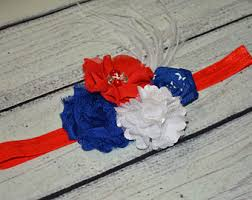 white and blue headband 4th of july headband white blue headband rhinestone