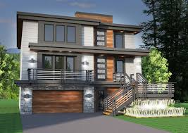 Narrow House Plans With Garage Sloped Lot House Plans Hahnow