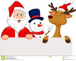 santa and reindeer santa claus reindeer and snowman with blank sign stock