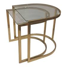 milo baughman style brass nesting side tables a pair nest and