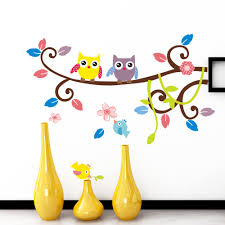 owls on tree wall stickers for kids