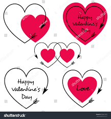 red valentines day hearts arrows stock vector 565617070 shutterstock