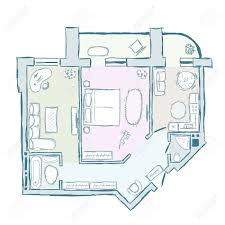 sketch of design interior apartment royalty free cliparts vectors