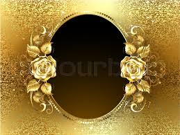gold roses oval banner with two gold roses on a background of gold brocade