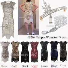 1920s flapper dress great gatsby sequins beads fringe art deco