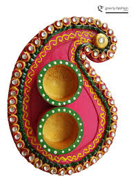 wedding return gifts diwali pooja divine gifts handicrafts mango shape colorful pooja thali set with attached kankawatis
