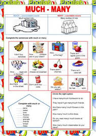 17 free esl much and many worksheets