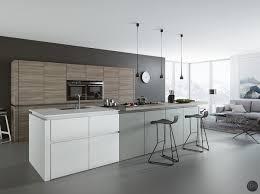 Grey Kitchen Island Home Design Modern All White Airy Kitchen Plan With Sleek White