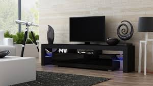 Led Tv Stands And Furniture Amazon Com Tv Stand Milano 200 Black Body Modern Led Tv Cabinet