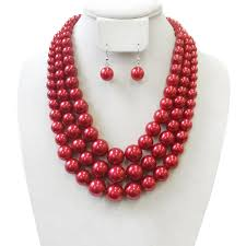 chunky necklace set images Npy036 rd 3 layer large pearl strands extra chunky necklace and jpg