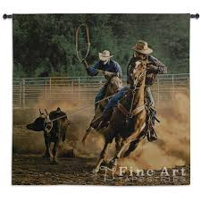 roping on the ranch iii cowboy tapestry wall hanging western
