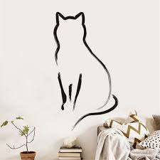 online get cheap kitty room decor aliexpress com alibaba group kitty cat shade wall stickers for kids rooms decoration simple line art kitchen removable decals bedroom