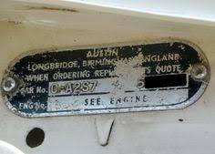 mk1 austin cooper s 1071cc vin plate mk1 austin cooper s 1071cc