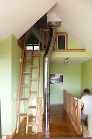 attic ladders staircase contemporary with chimney green green