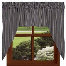 Lined Swag Curtains Country Striped 100 Cotton Curtains Drapes U0026 Valances Ebay