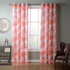Pink And Orange Curtains Sunnyrain 1 Orange Coconut Palm Sheer Curtain For Living