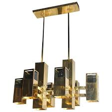 Aged Brass Chandelier Robert Sonneman Vintage Brass And Smoked Lucite Cityscape Cube