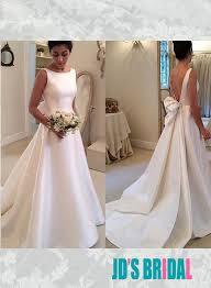 plain wedding dresses jol239 simple bateau neck plain satin low back wedding bridal dress