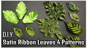 leaf ribbon d i y satin ribbon leaves 4 patterns myindulzens