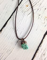leather turquoise necklace images Raw turquoise nugget on adjustable leather necklace silver in jpg