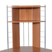 Corner Computer Tower Desk Homcom 45 Arch Tower Corner Computer Desk Beech Wood