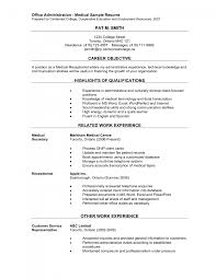 sample secretary resume cover letter medical resume example resume example for medical cover letter medical secretary resume dental receptionist examples fbd ca ab e a fdf dmedical resume example