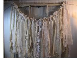 tattered fabric wedding garland window dressing shabby chic
