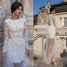 2015 charming short wedding dress with detachable skirt long