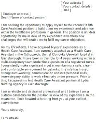 healthcare cover letter template health care assistant cover letter sle
