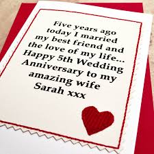 anniversary cards for personalised 5th wedding anniversary card by arnott cards