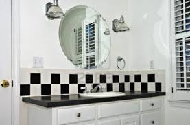 Black Laminate Flooring For Bathrooms White Varnished Wooden Frame Wall Mirror Black And White Bathroom