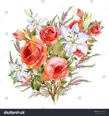 Beautiful Flowers Image Watercolor Bouquet Beautiful Flowers Stock Illustration 239720434