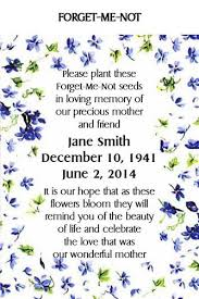 forget me not seed packets memorial keepsake remembrance funeral seed packets forget me not