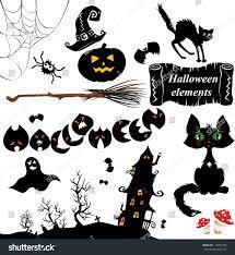 set halloween elements pumpkin bats ghost stock vector 112853344