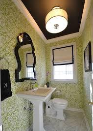 Striped Wallpaper Bathroom Philadelphia Green And White Striped Wallpaper Powder Room